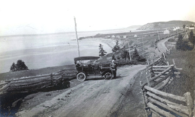 The motor car and the coast! (Photo - Peter Burpee Collection)