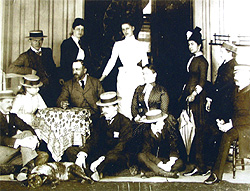Lord Stanley, his wife Lady Constance, his five sons, his daughter and staff members.
