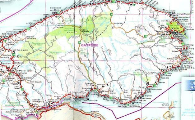 Road Map, Gaspé / Carte routière, Gaspésie