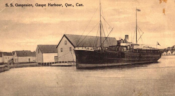 Bateau à vapeur SS Gaspesien, Port de Gaspé, vers 1910 / Steamship SS Gaspesien, Gaspé Harbour, c.1910