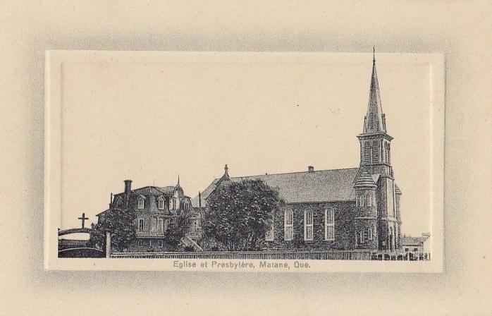 Église et presbytère, Matane, vers 1900 / Church and presbytery, Matane, c.1900