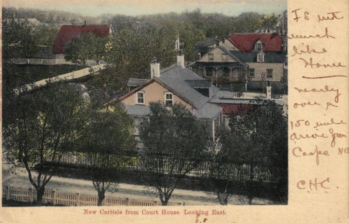 """""""It's not much like home."""" New Carlisle from Courthouse, looking East, c.1905. Early postcard."""