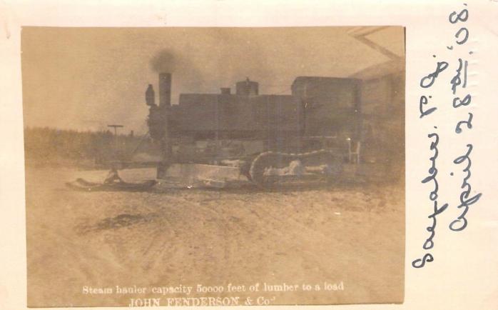 Tracteur à vapeur, Sayabec, 1908 / Steam hauler, Sayabec, 1908